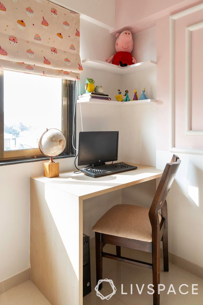 small space house design-L shaped study table