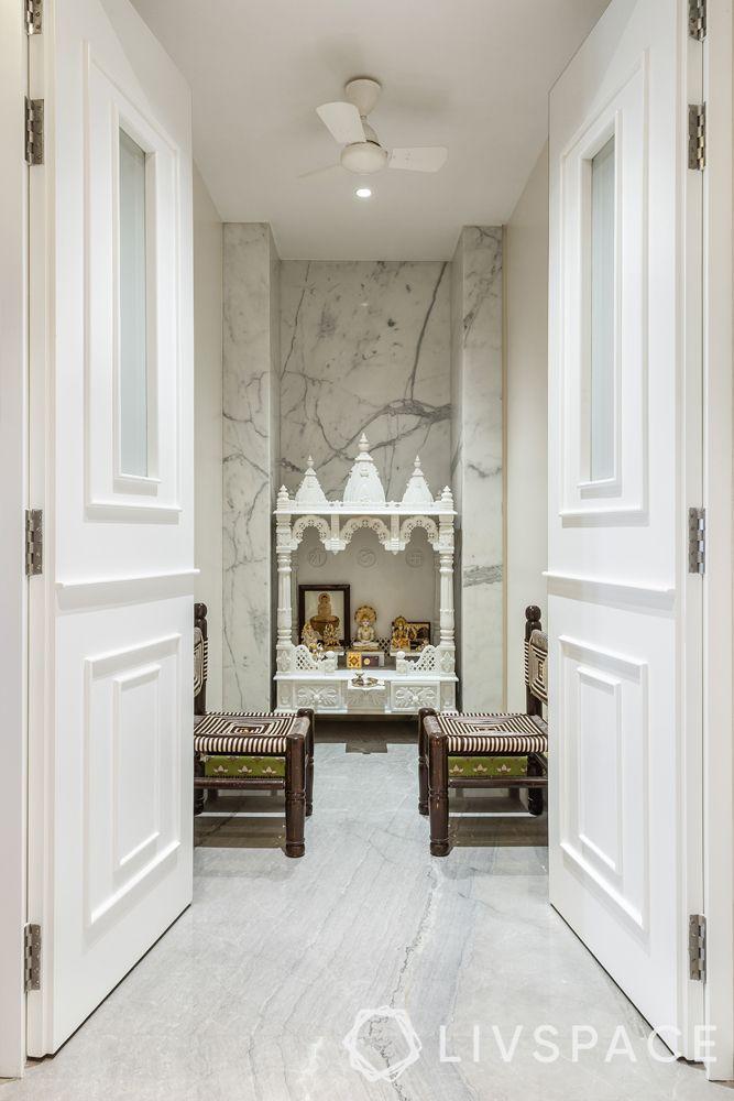 small pooja room door design-white mandir-open door