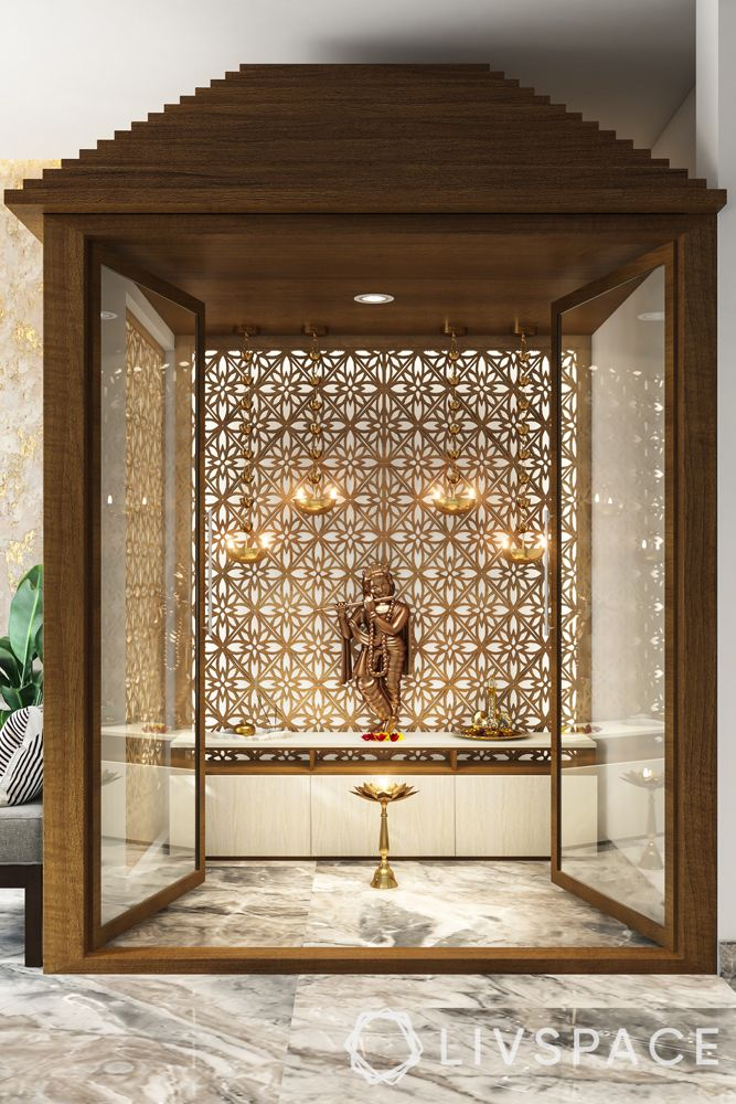 modern pooja room door designs-mandir-glass door-wood frames