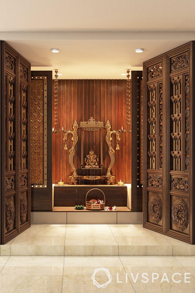 simple pooja room door design-mandir-double door-wooden carved door-sliding door