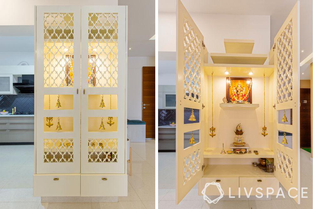 modern pooja room door designs-white mandir-jaali and bells