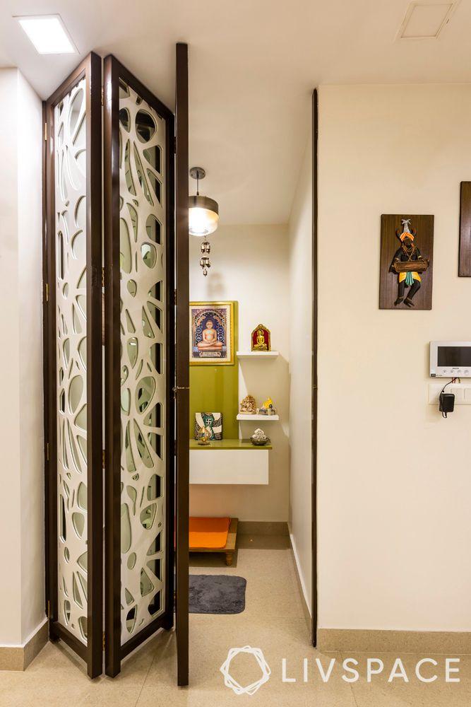 small pooja room door design-collapsible door-jaali