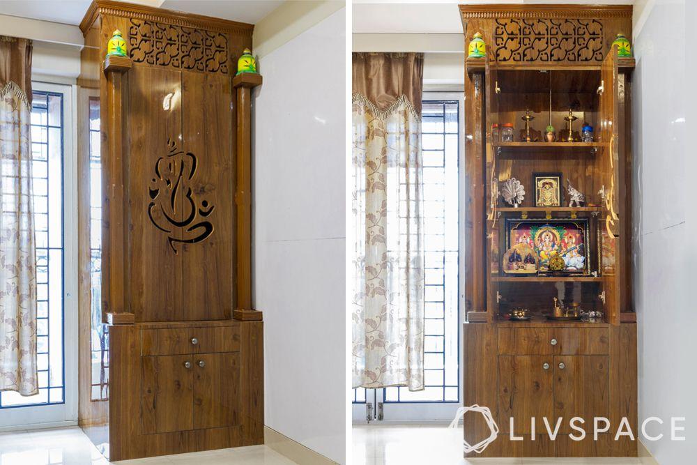 small pooja room door design-open and shut-wooden-Ganesha carving
