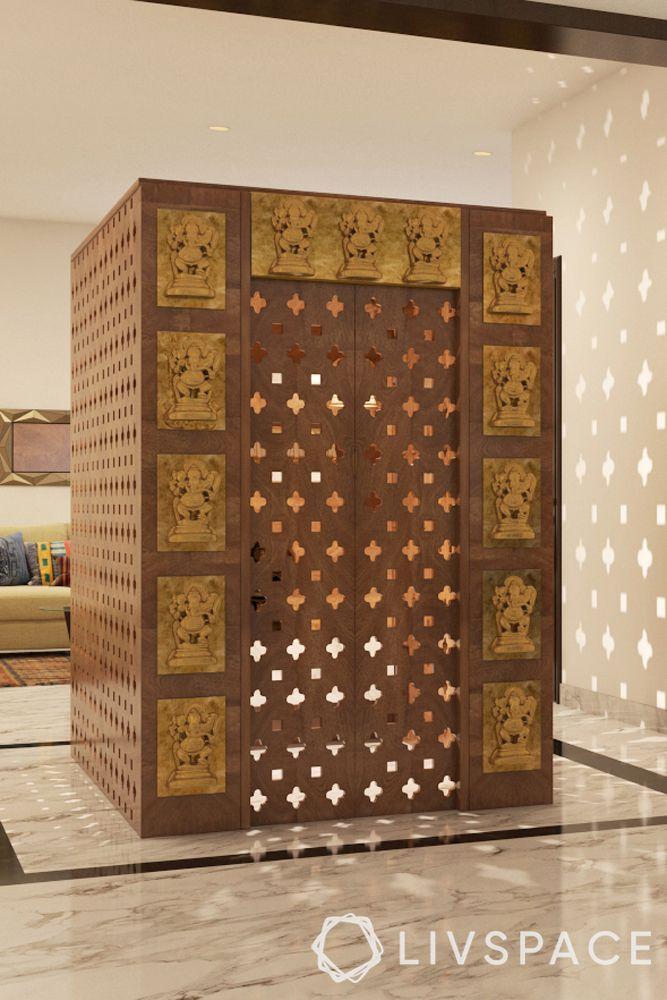 simple pooja room door design-carved door-mandir