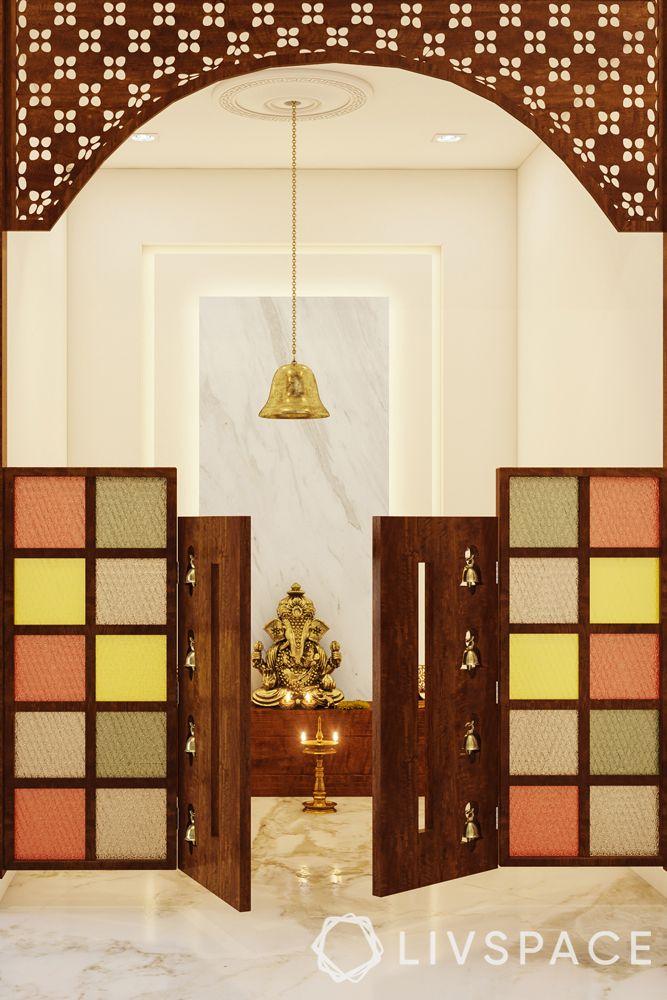 modern pooja room door designs-half door-stained glass panes