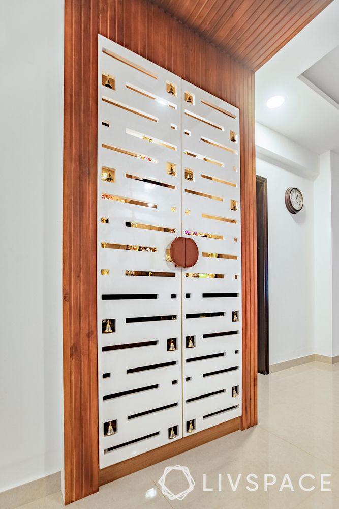 small pooja room door design-CNC cut detailing-plywood