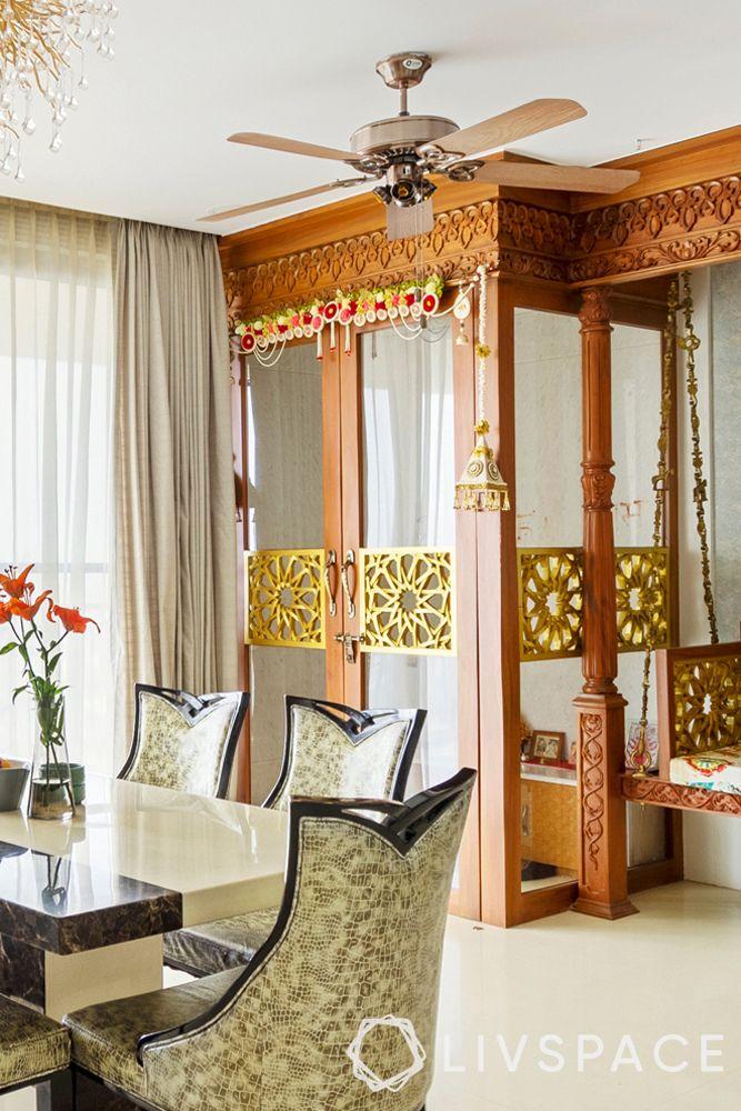 modern pooja room door designs-mandir-glass door-wood frame-jaali