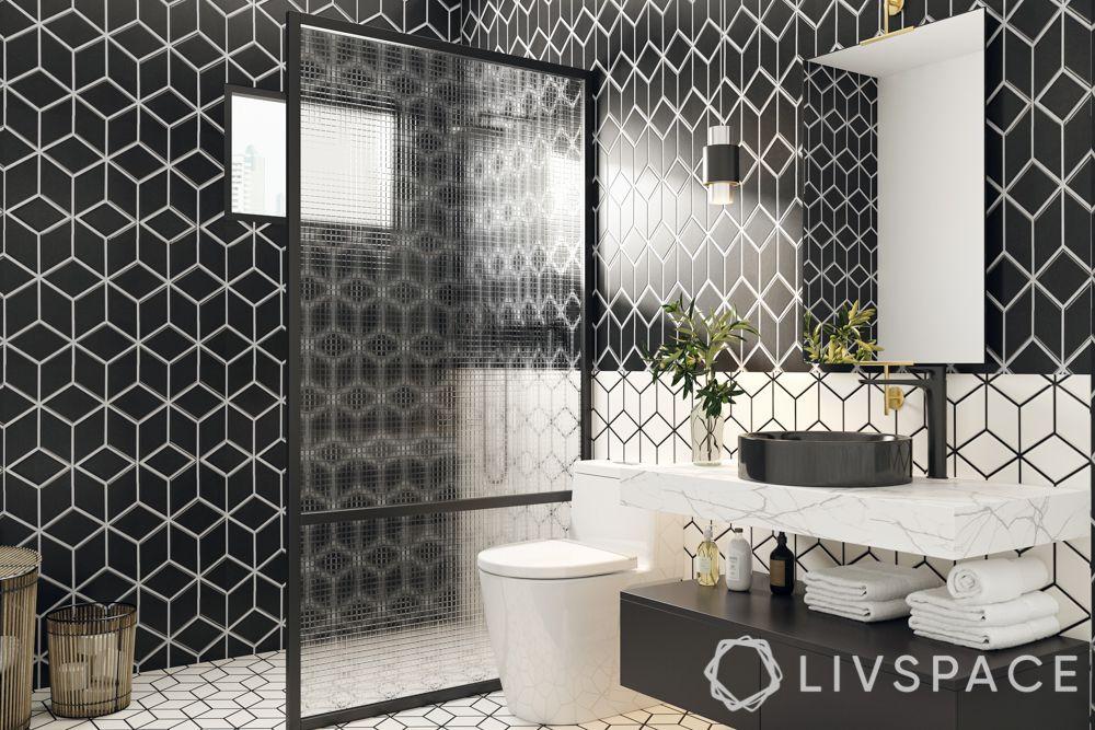 bathroom tiling designs - geometric tiles