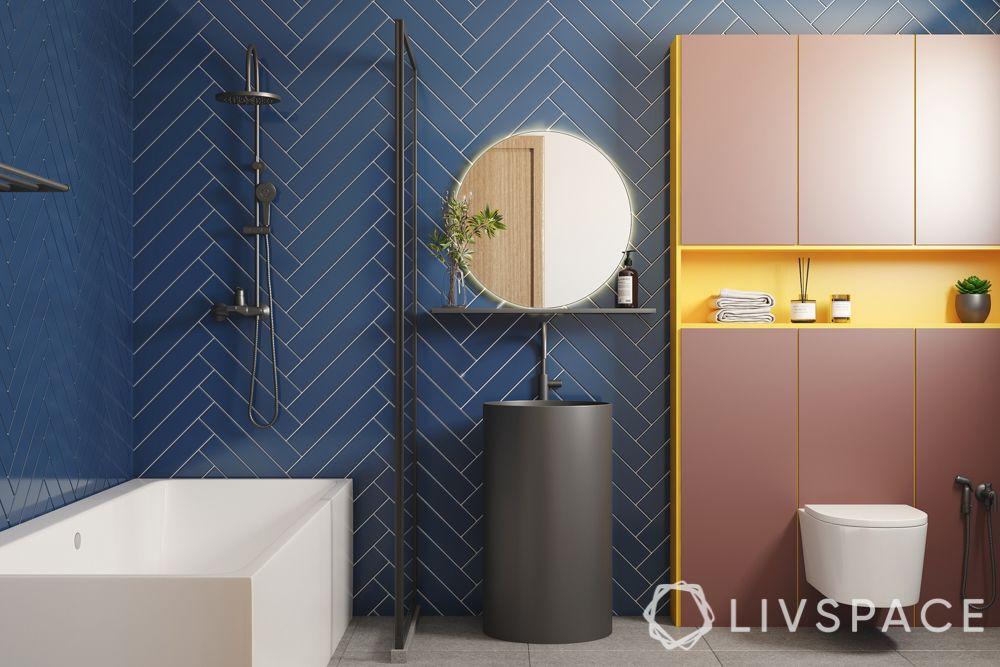 bathroom tiling designs - herringbone pattern