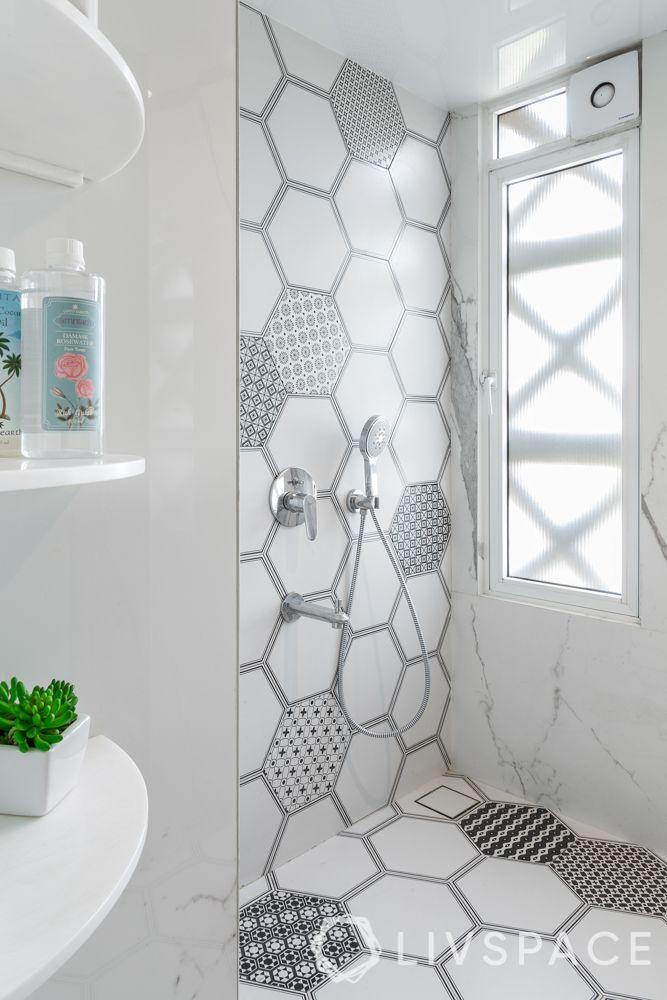 bathroom tile designs - hexagonal tiles