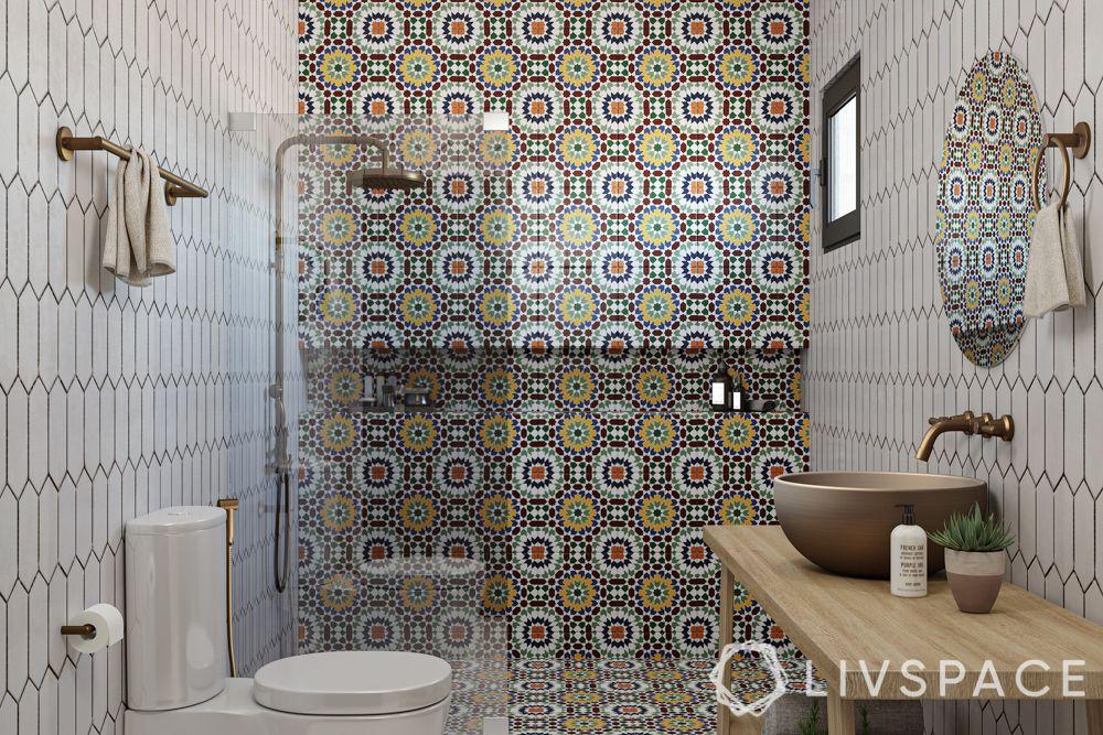 bathroom tile designs - statement tile wall