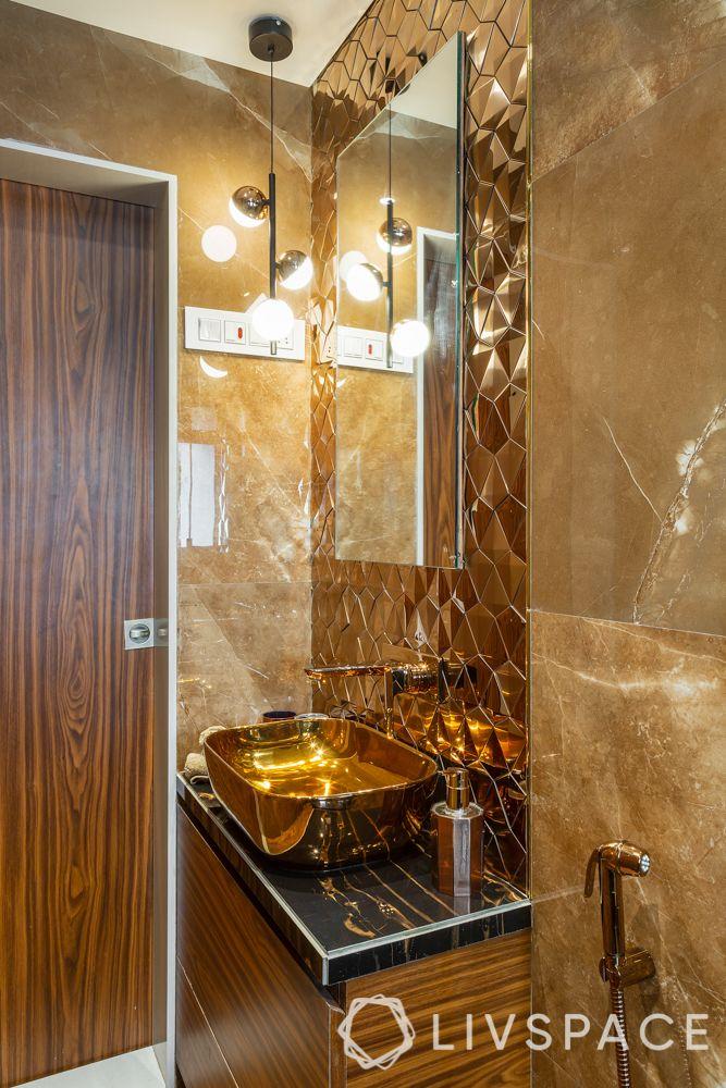 bathroom tile designs - metallic tiles