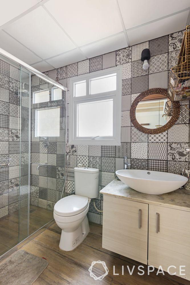 bathroom tile designs - monochrome tiles