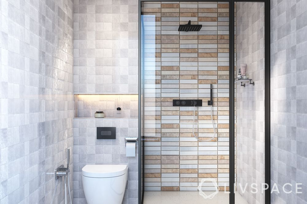 bathroom tile designs - grid stacked tiles