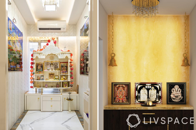 pooja room ceiling design - pooja room with chandelier