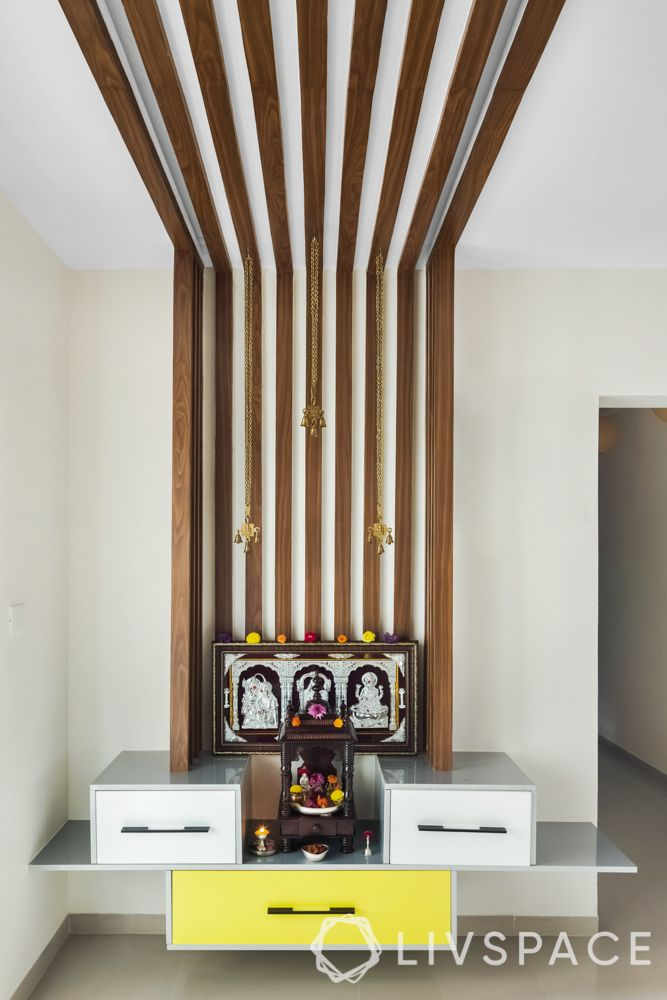 pooja room ceiling design - ceiling with wood rafters