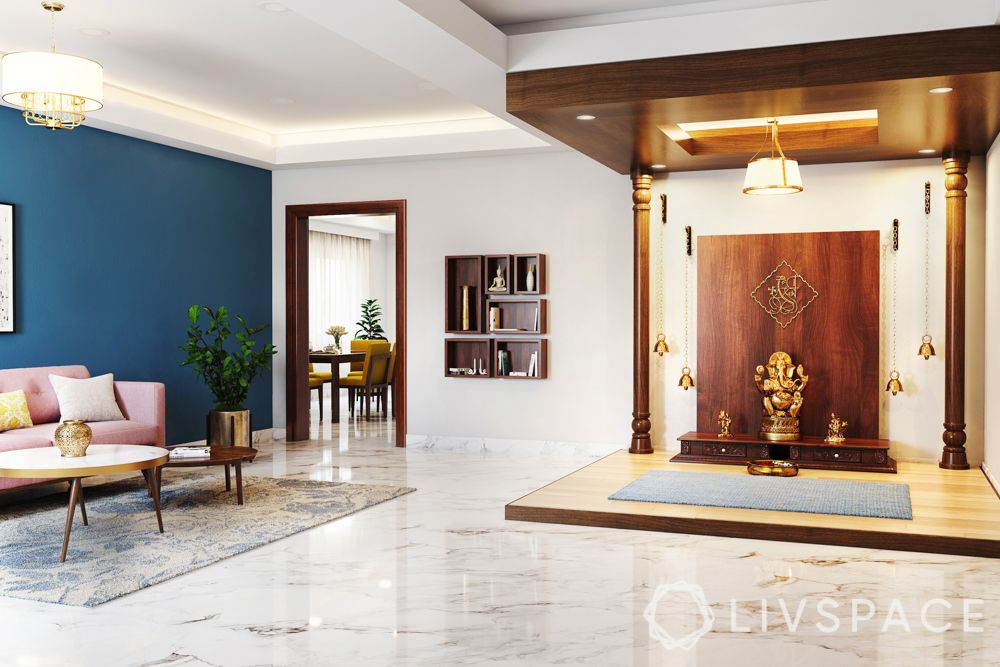 pooja room ceiling design - wood ceiling with spot and cove lights
