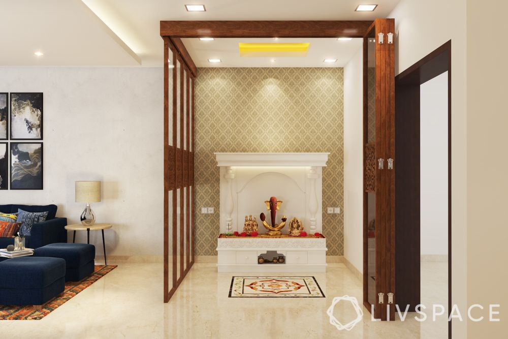 pooja room ceiling design - carved ceiling with cove lighting