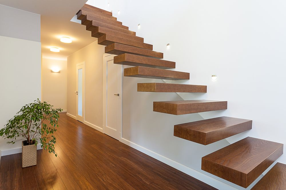 stairs design for Indian houses-white and wood