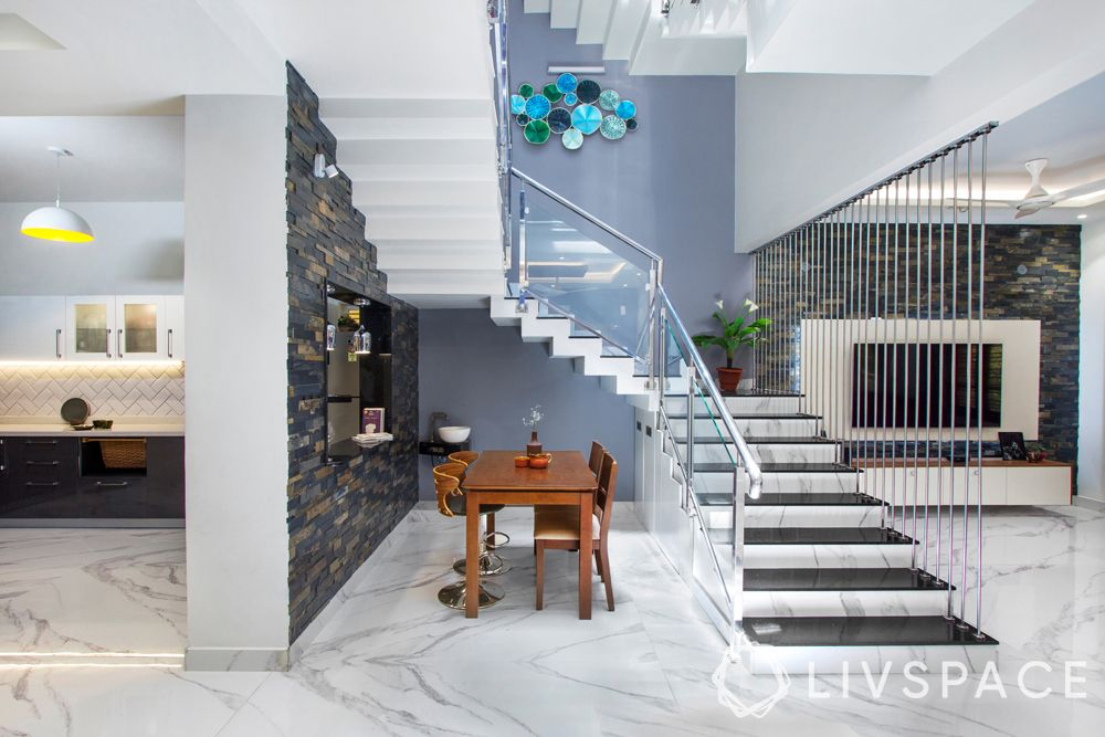 stairs design for Indian houses-marble and granite-glass railing-steel rods