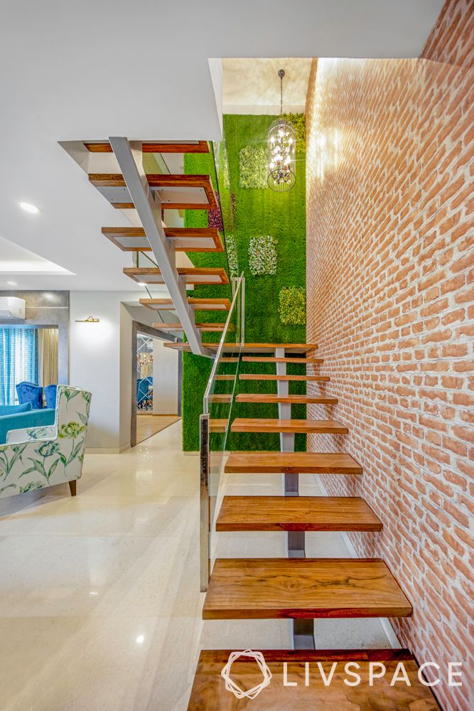 types of stairs design-industrial-exposed brick wall-vertical garden