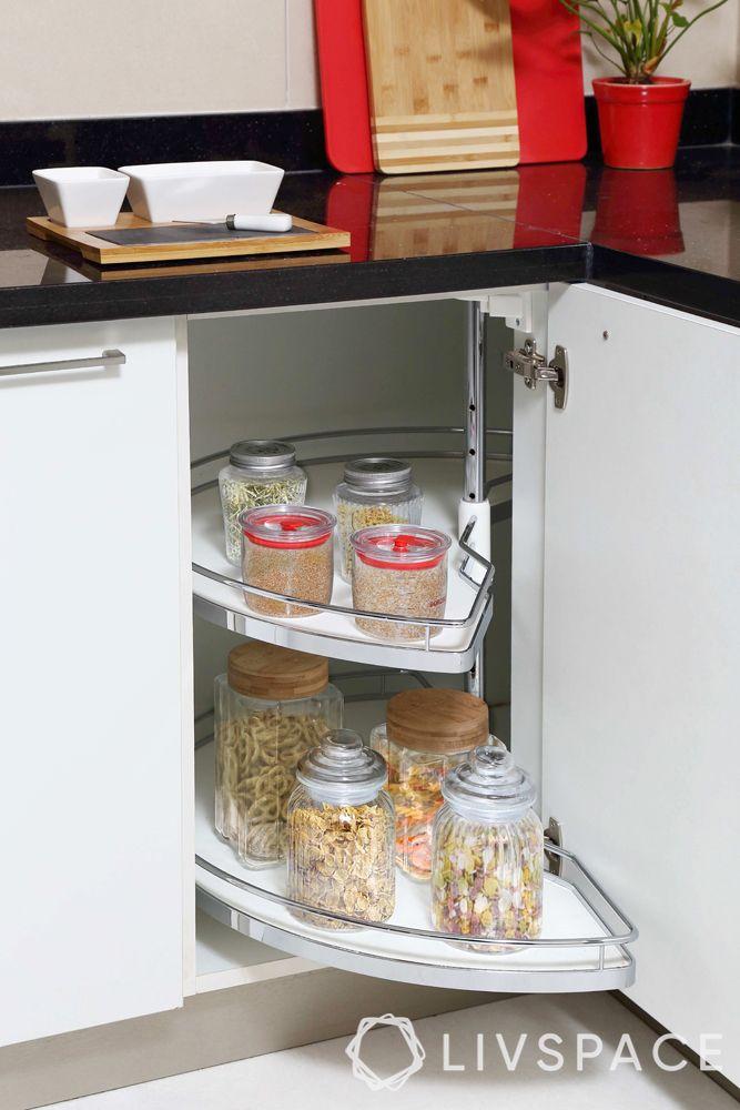carousal unit-white cabinet-kitchen storage