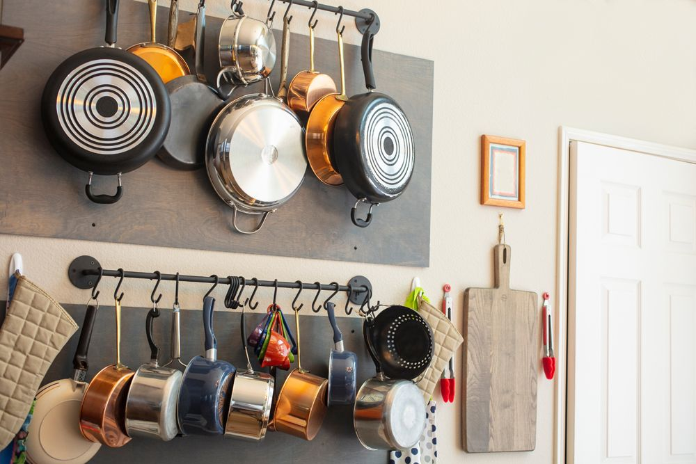 kitchen storage ideas-hooks for pots and pans