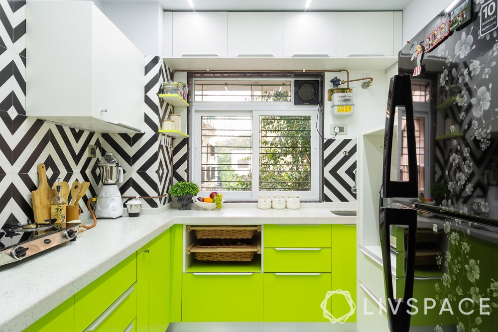 small kitchen design Indian style-lime green cabinets