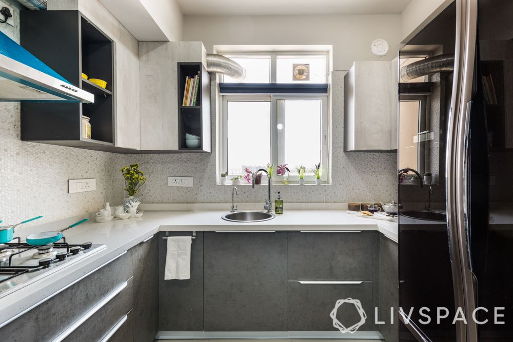 simple kitchen design-scandinavian style-grey and white-profile handles