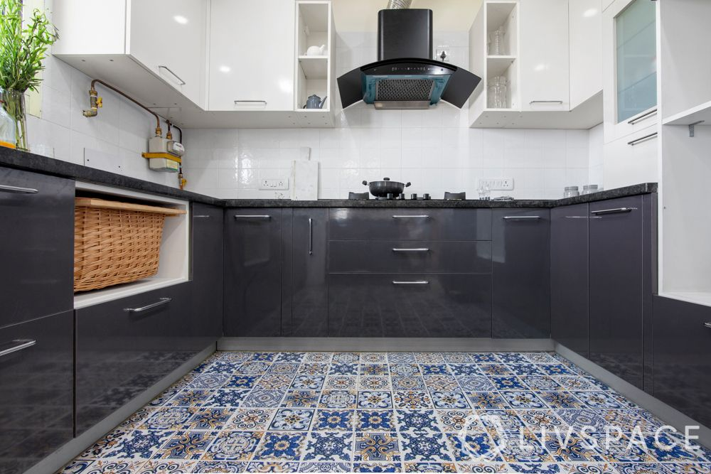 simple kitchen design-slate grey and white cabinets-moroccan floor