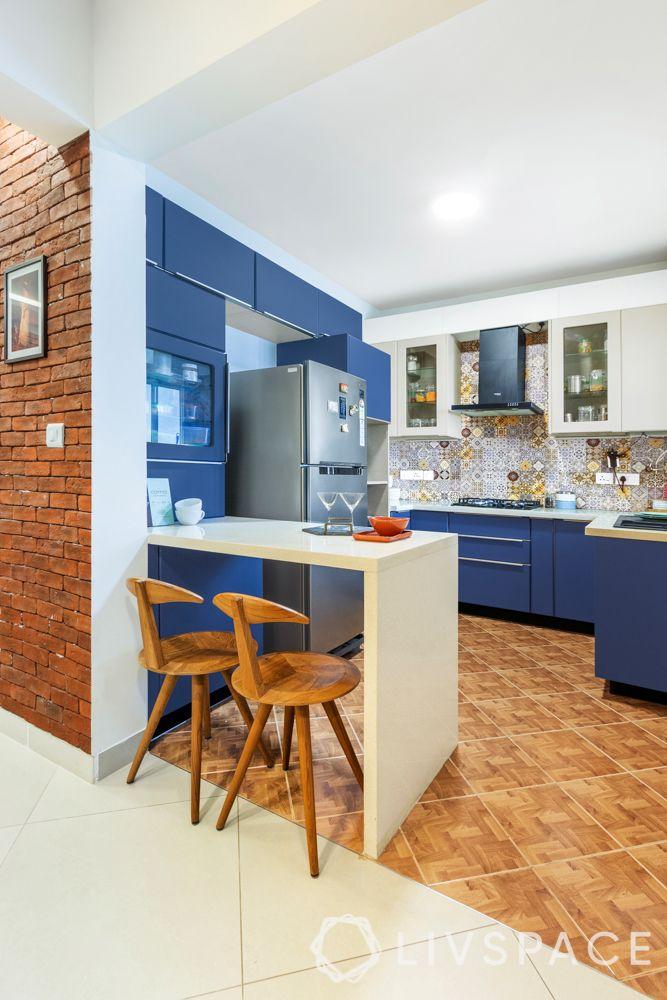 simple kitchen design-open kitchen-breakfast counter-blue cabinets