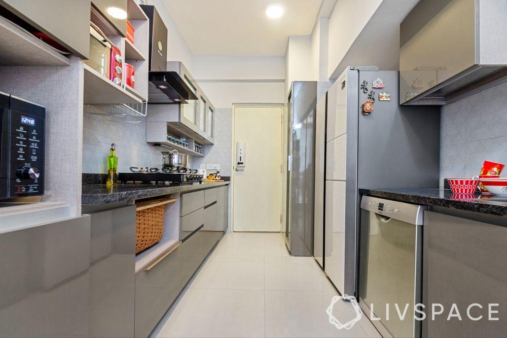 small kitchen design Indian style-neutral kitchen-storage-segregation
