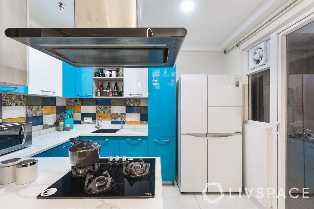simple kitchen design for small house-blue and white cabinets