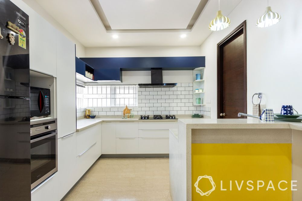 simple kitchen design-white kitchen-pops of blue and yellow-modular