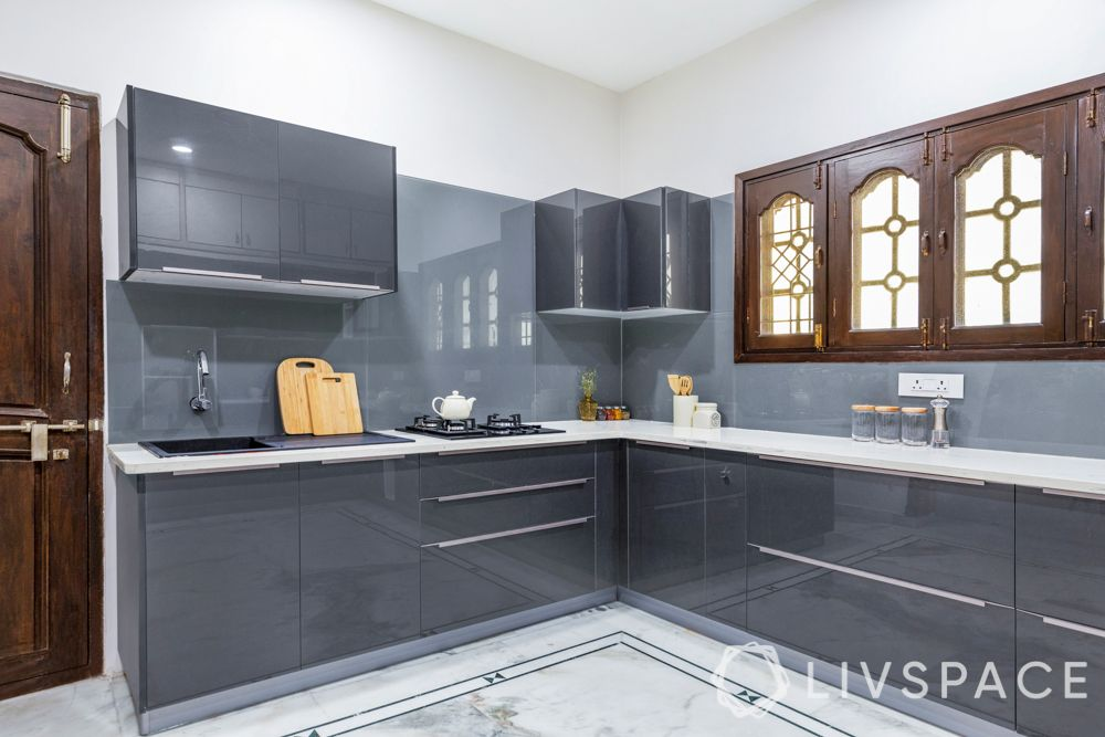 small kitchen design indian style-grey cabinets
