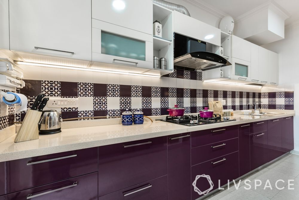 simple kitchen design for small house-purple cabinets-backsplash