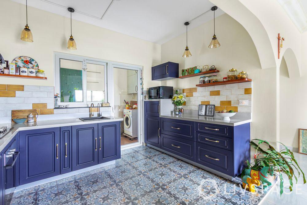 simple kitchen design-boho-denim blue cabinets