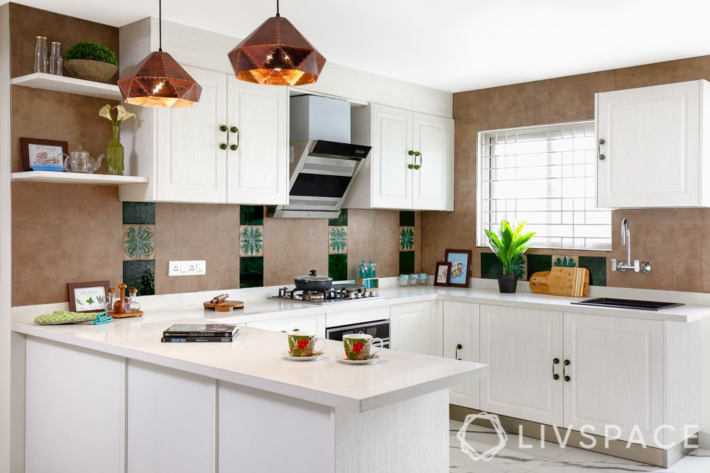 small kitchen design Indian style-white cabinets-cappuccino