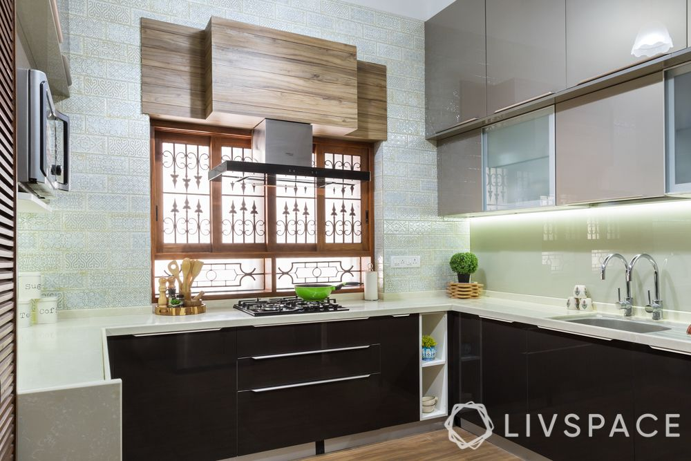 small kitchen design Indian style-contemporary kitchen-acrylic cabinets-tiles
