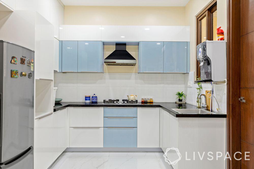 small kitchen design Indian style-metallic tones
