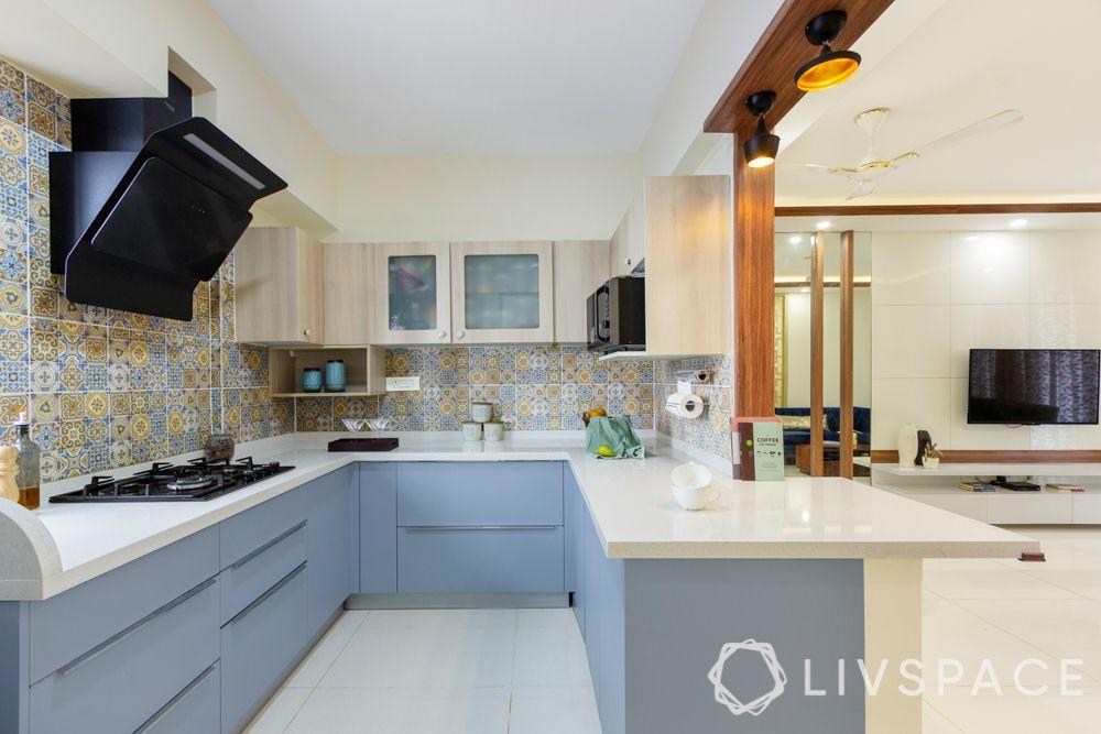 simple kitchen design-powder blue cabinets