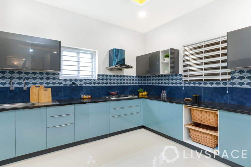 small kitchen design Indian style-shades of blue