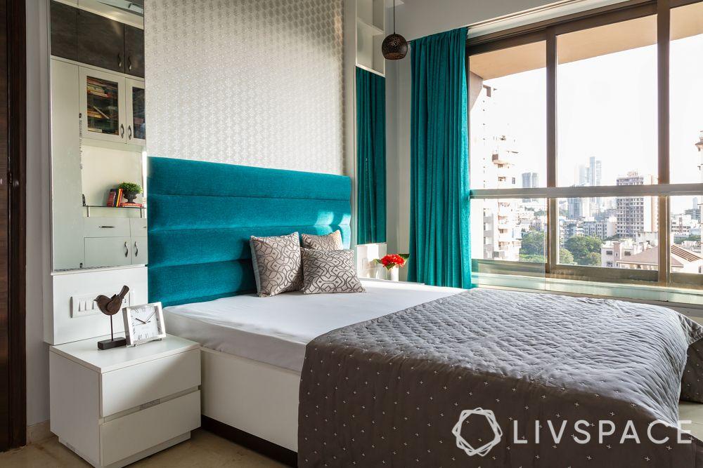 Indian style bedroom-bed-headboard-vanity unit cum storage cum side table