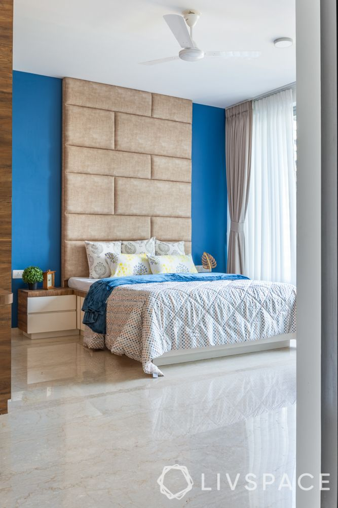 Indian style bedroom-full length headboard