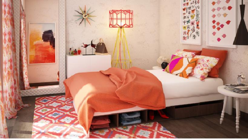 girls room designs - orange kids room