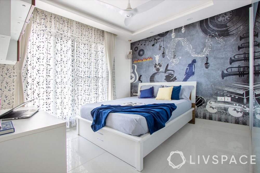 girls room design - blues and greys