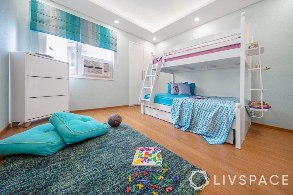 girls room designs - wooden side bed