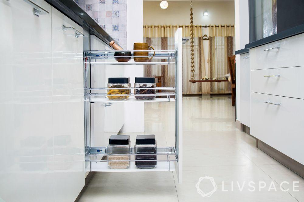 kitchen storage units-white retractable drawers-gurgaon