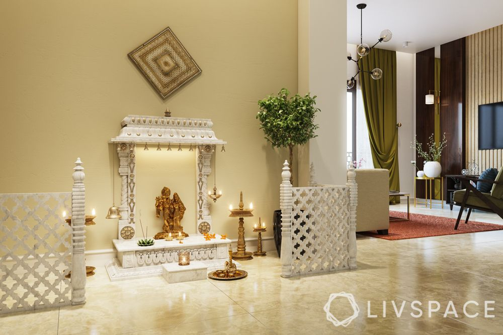 pooja room designs for south indian homes_white colour