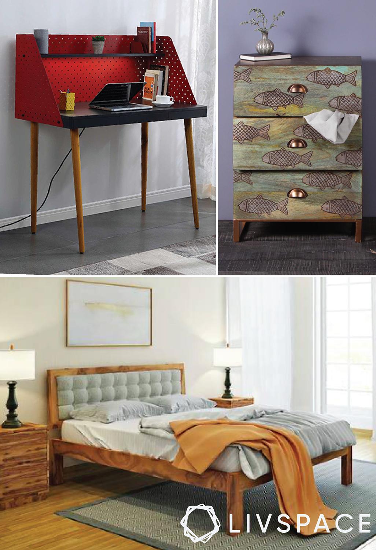 buy furniture online-work desk-wooden bed